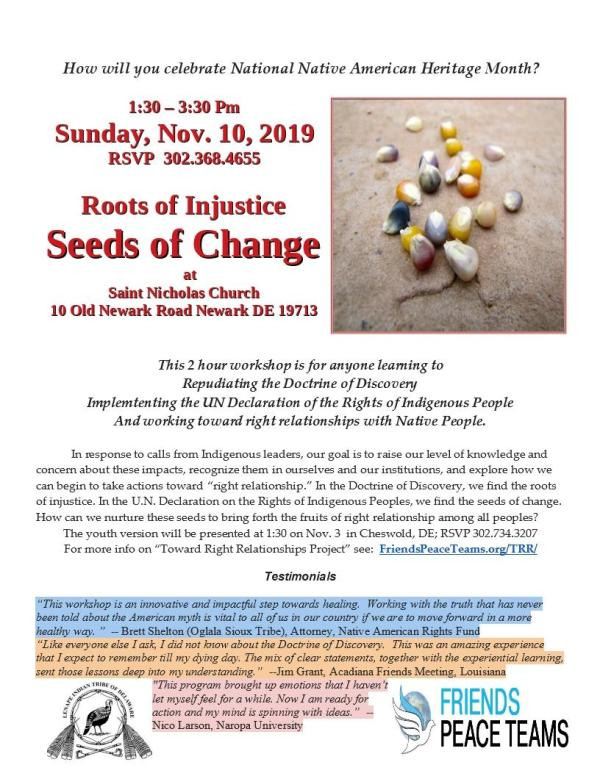 Roots of Injustice, Seeds of Change - St. Nic 11-10-19 Flier